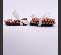 102. Skleněný náramek 3 ks (černá, žlutozelená, oranžová)