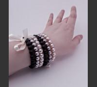 107. Skleněný náramek 3 ks (šedá, růžová, černá)