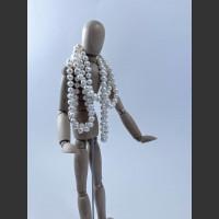 Náhrdelník - 120 cm, bílá říční perla