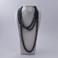 Náhrdelník dlouhý 140 cm, modrá říční perla