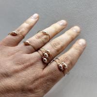 Prsten růžová říční perla.
