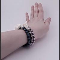 109. Skleněný náramek 3 ks (šedá, šedá, modrá)