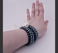 106. Skleněný náramek 3 ks (petrolejová, modrá, modrá)
