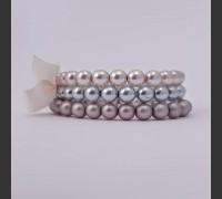 108. Skleněný náramek 3 ks (šedá, růžová, modrá)