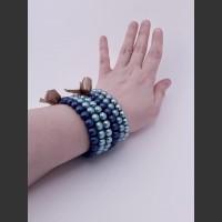 104. Skleněný náramek 3 ks (modrá, tyrkysová, tyrkysová)