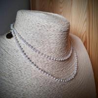 35. Náhrdelník Říční perla a Akvamarín 70 cm.