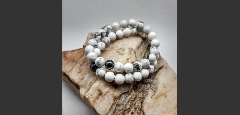 Minerální náramek, Magnezit, Hematit - šedý.