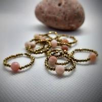 179. Prsten Růžový Opál a Hematit