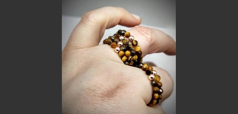 189. Prsten Tygří oko a Hematit