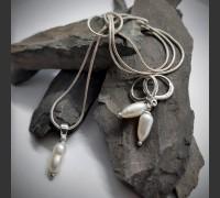 218. Sada Bílá Říční Perla ve stříbře