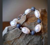 46. Náramek Modrý korál a Říční perla