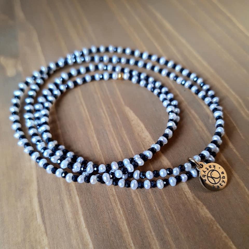 36. Náhrdelník Říční perla a Spinel 80 cm.