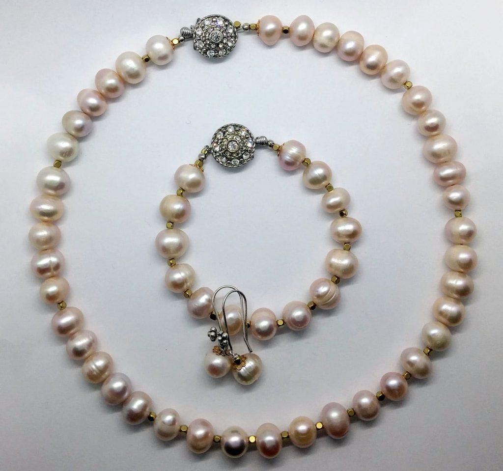 Perlová sada, náhrdelník, náramek, náušnice
