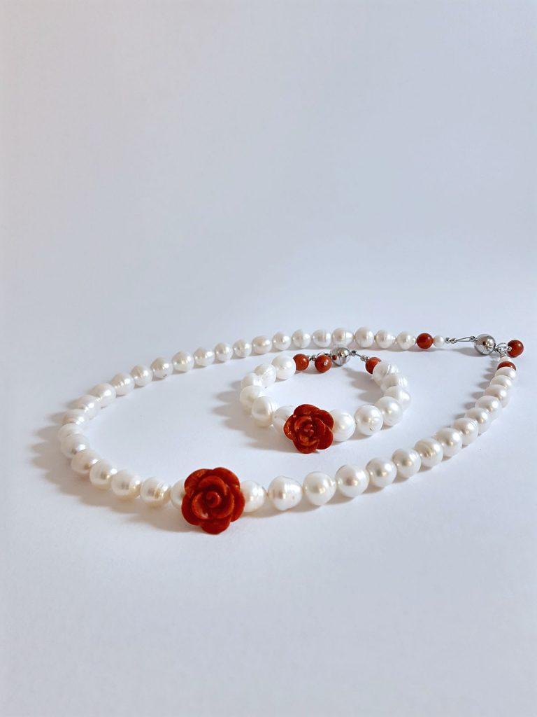 Perlová sada náhrdelník s náramkem