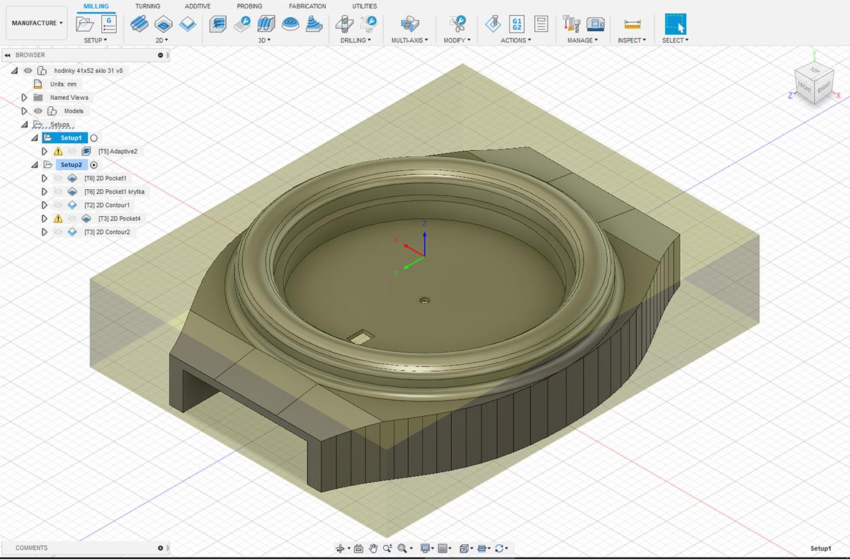 3D návrh dřevěných hodinke model Aladin